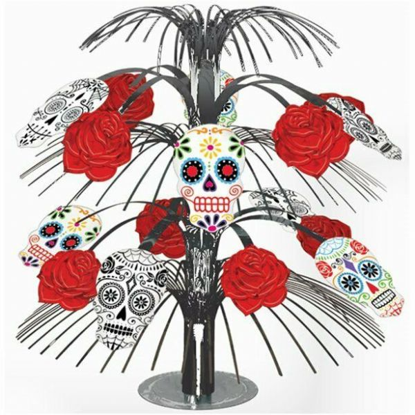 Halloween Skull & Rose Table Centrepiece - 35cm